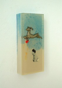 ASSUAN IN BLOCKSCAPE I  1997 Resina de poliester y collage 12 x 28 x 4 cm