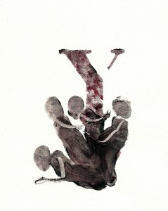 COUPLES-IV,-2010-Acrylic-and-wine-on-paper-21--x-29,5-cm