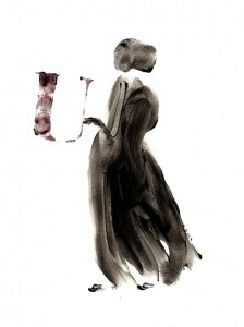 DRESSES-I,-2010-Acrylic-and-wine-on-paper-21--x-29,5-cm