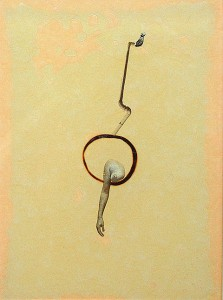 GLASSBURN IX 1994 Resina de poliester y collage 13 x 18,5 x 2,5 cm
