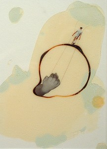 GLASSBURN VI 1994 Resina de poliester y collage 13 x 18,5 x 2,5 cm