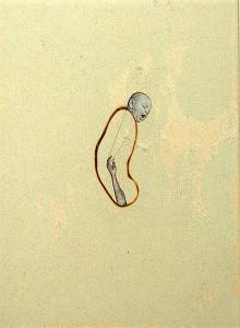 GLASSBURN VII 1994 Resina de poliester y collage 13 x 18,5 x 2,5 cm