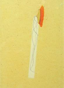 GLASSHAIR I 1994 Resina de poliester  y collage 24,5 x 17 x 2,5 cm