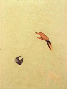 GLASSHAIR IX 1994 Resina de poliester  y collage 24,5 x 17 x 2,5 cm
