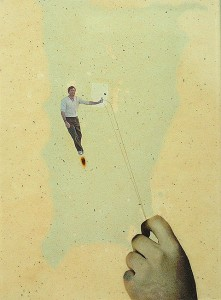 GLASSHAIR XI 1994 Resina de poliester  y collage 24,5 x 17 x 2,5 cm