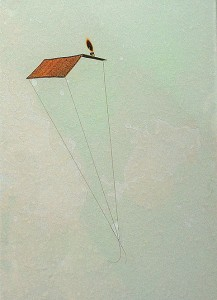 GLASSHAIR XVII 1994 Resina de poliester  y collage 24,5 x 17 x 2,5 cm