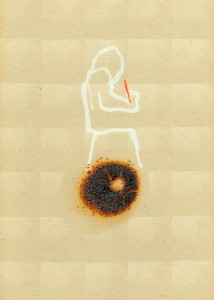 READERS-II,-1993-Acrylic-and-fire-on-plastic-28,5-x-13-cm