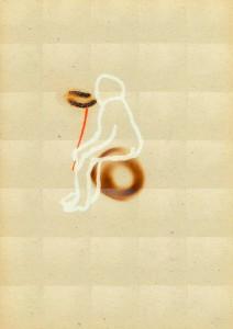 READERS-III,-1993-Acrylic-and-fire-on-plastic-28,5-x-13-cm