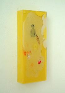 WATCH IN BLOCKSCAPE   1997 Resina de poliester y collage 12 x 28 x 4 cm