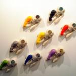"""""""Tormentos"""". 2008. (Serie de 8 piezas). Resina de poliéster, cristal y collage. Medidas variables."""